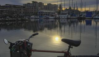 Image of bicycle by harbor